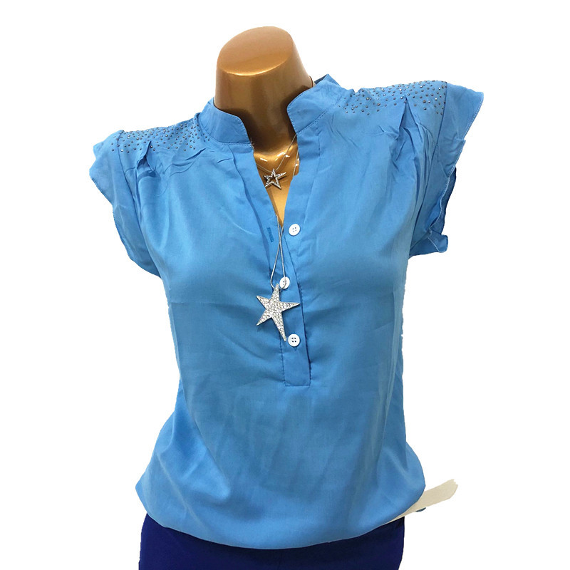 Camisa Verano gris verde Sexy Elegante Azul Ruffles Blusa rosado Oficina Mierdas Mujer Tops Moda Ws6920m ww4Xat