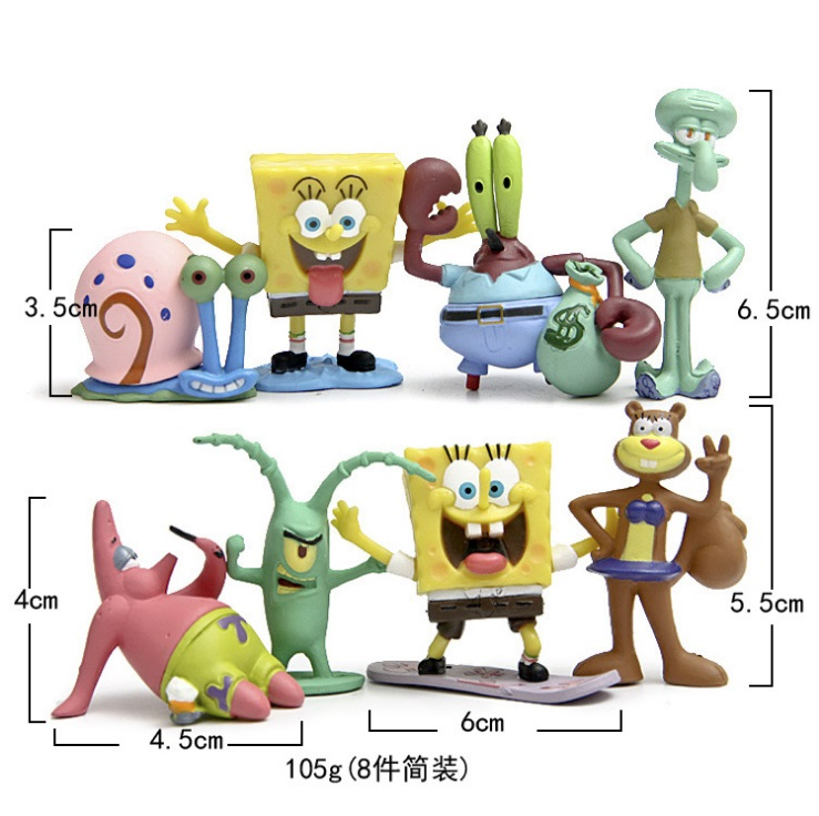 8pcs / set Aquarium Landscaping SpongeBob akvarium fisketank Dekor, Squidward Tentacles, Patrick Star, Squidward, Krabs