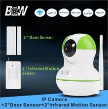 Cámara ip de vigilancia de seguridad de red inalámbrica + 2 sensor de puerta 2 infrarrojos motion sensor de sistema de alarma de la cámara wifi de la cámara bw12gr
