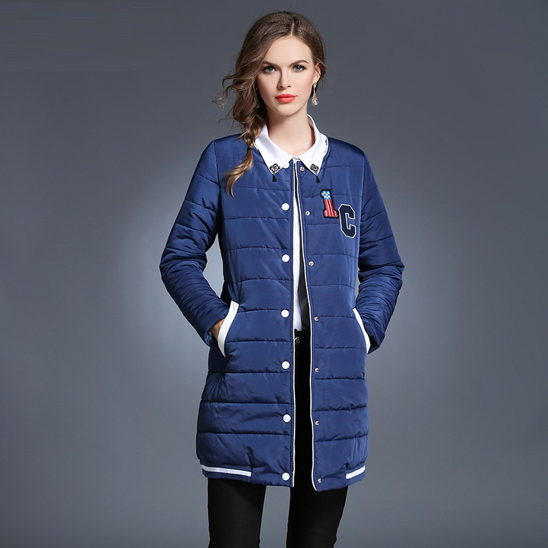 New2016Winter women Wadded coat female letter applique plus size casual long cotton padded jacket coat outwear