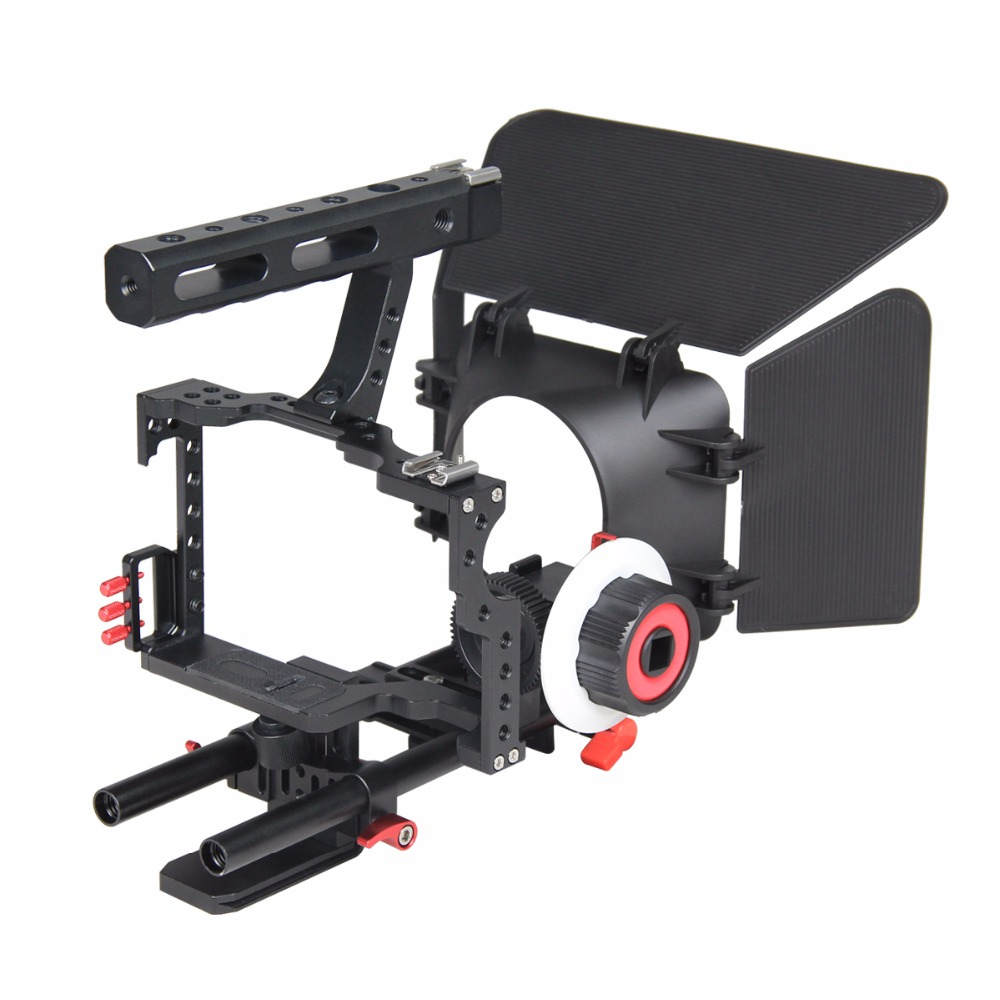 DSLR Camera Rig Video Stabilizer Cage 15mm Rod System + Matte Box + Sony A7 A7R A7S A7 A7RII GH4 үшін Focus қадағалаңыз