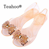 Summer Style Sandals Shoes Women 2015 Women Flat Sandals Transparent Peep Toe Crystal Women Summer Beach