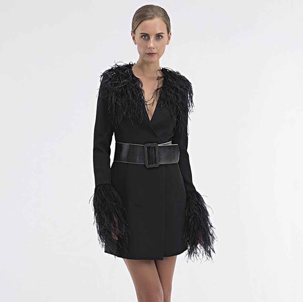 929bbbf9616 Size Chart. J093. About us P201506180040 image image image image. Sexy  Black Woman Autumn Winter Ostrich Feather Jacket Long Sleeve Mini Legnth Lady  White ...