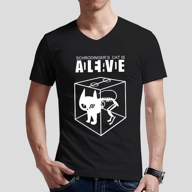 121c8d525b Personalizado Gato de schrodinger Camiseta Gola V Homens Da Moda T-shirt de  Manga Curta