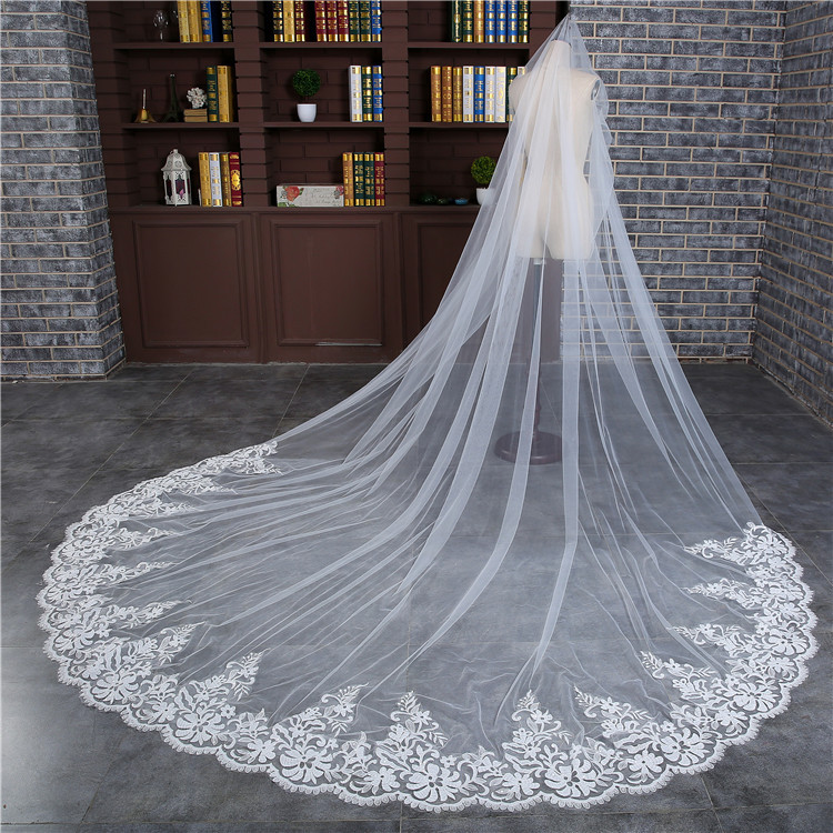 Woman 3 M Wedding Veil Cathedral One Layer Lace Appliqued Edge Long Bridal Veils With Comb 2018 New Accessories