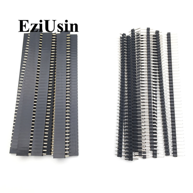 20pcs 10 pairs 40 Pin 1x40 Single Row Male and Female  2.54 Breakable Pin Header PCB JST Connector Strip for Arduino Black