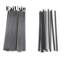 20 piezas 10 pares 40 Pin 1x40 Single Row macho y hembra 2,54 cabezal de Pin rompible PCB JST conector tira para Arduino negro