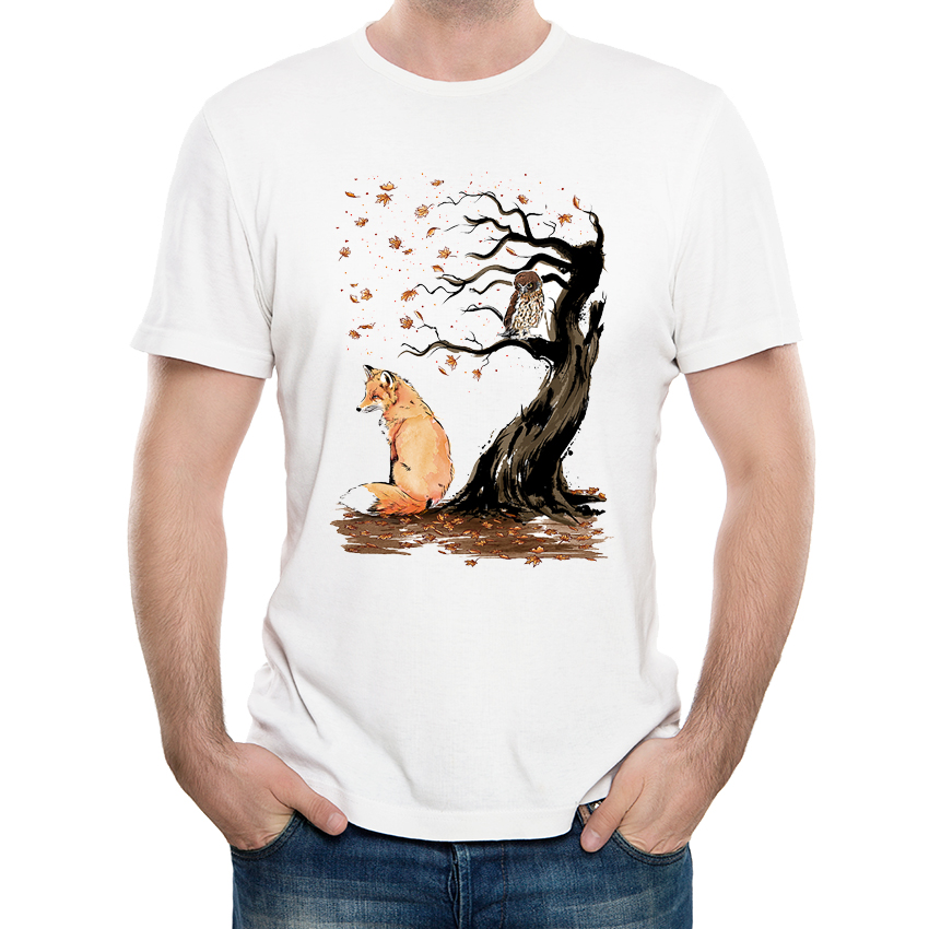 Fashion Art Design Winds of Autumn Men s Creative fox Printed T-shirt High  Quality Hipster 99ee4d98c1f0