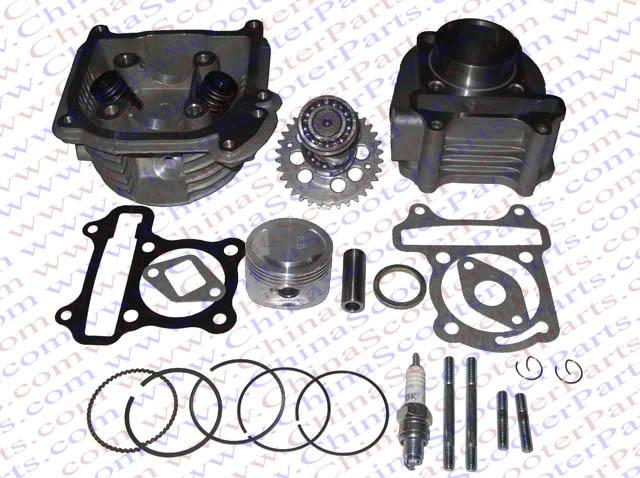 Performance 52MM Cylinder Piston Ring Gasket Head Camshaft Kit GY6 50CC 120CC 88ML Jonway Baotian Sunny