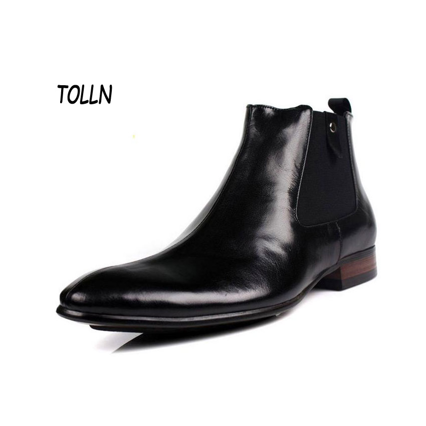 Black leather boots italian