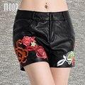 Black with floral embroidery genuine leather shorts women fashion hot shorts 100%lambskin bottom bermuda feminina LT816