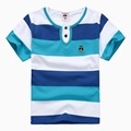 Qual alta qualidade crianças roupas de verão meninos camiseta de manga curta com decote em v roupas de algodão listrado para 2 4 6 8 10 12 14 anos