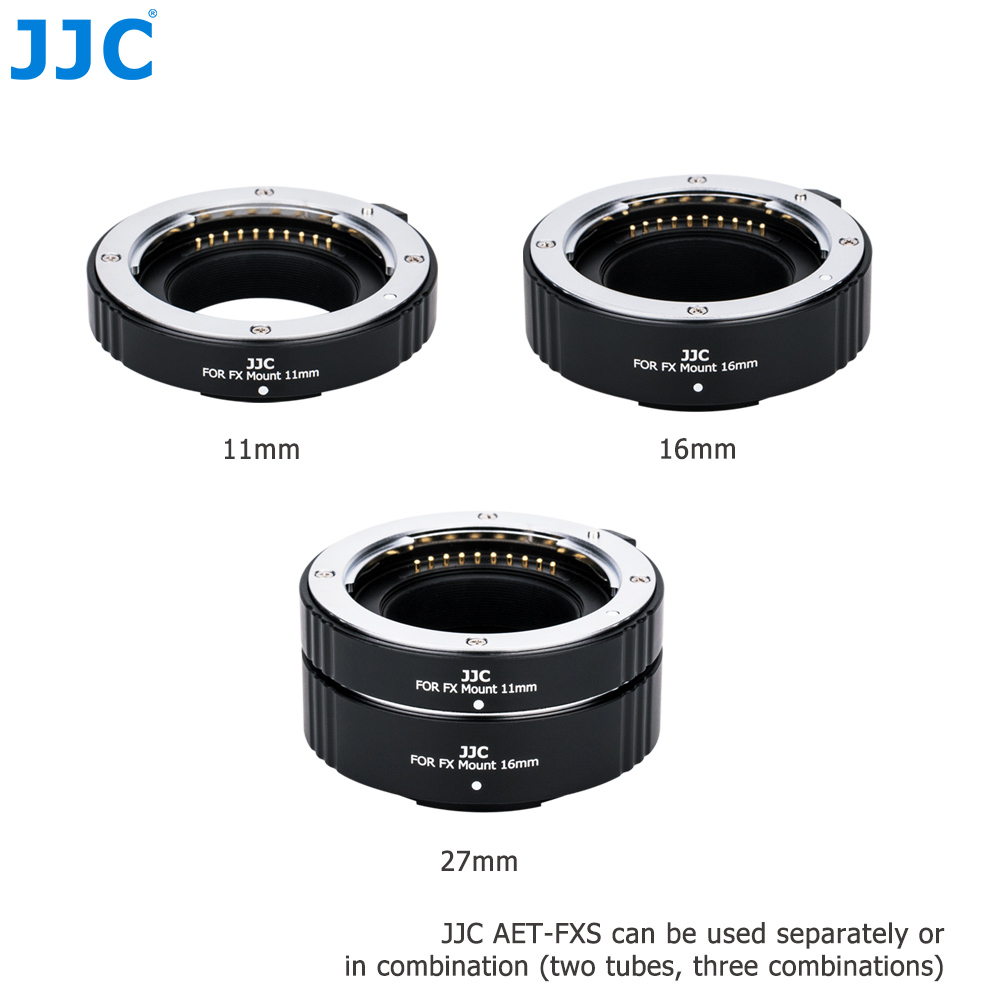 JJC Metal Auto Focus Adapter Ring Automatic Extension Lens Tube for Fujifilm X Mount 11mm 16mm