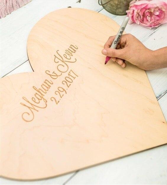 Personalizado corazón de madera libro de invitados de la boda, único ...