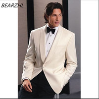 mens suits slim tuxedo shawl collar suit ivory tailor tuxedo 2019 wedding wear