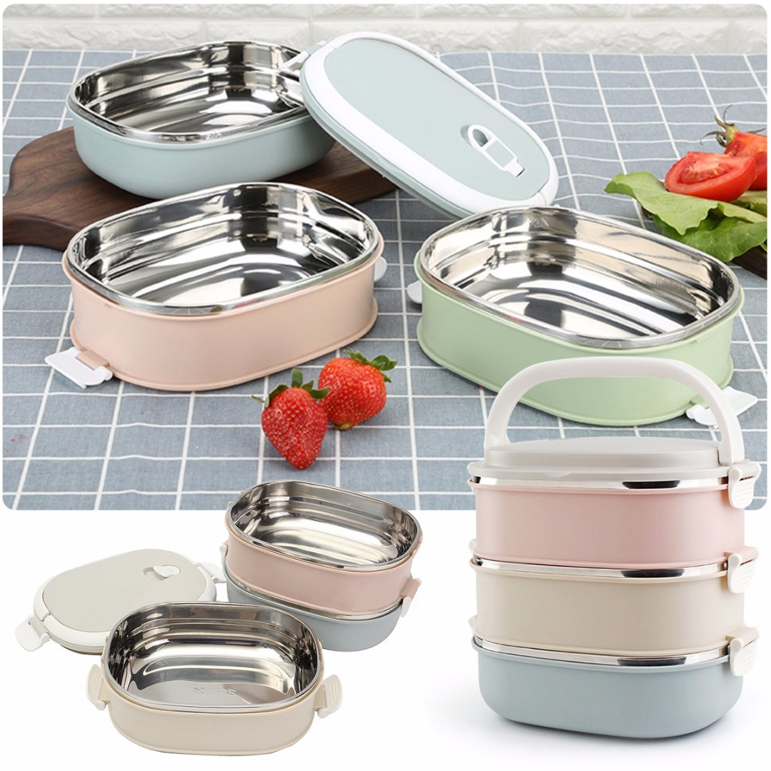 mayitr stainless steel 3 tier bento lunch box portable insulated thermal food container food. Black Bedroom Furniture Sets. Home Design Ideas