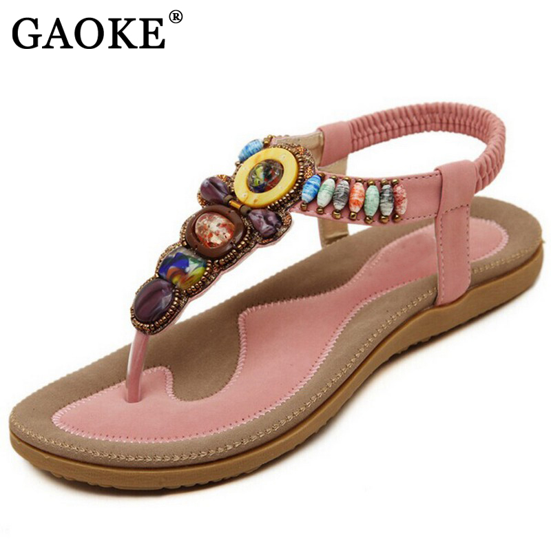 Size 36-42 2018 Bohemian Women Sandals Gemstone Beaded Slippers Summer Beach Sandals Women Flip Flops Ladies Flat Sandals Shoes
