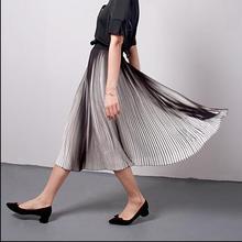 2017 summer new fashion women's Chiffon elegant big skirt vintage slim elastic Stitching Hit color High waist pleated skirt