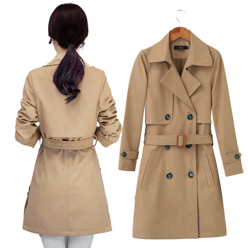Classic british london Style Fashion khaki Color 2019 New Women's Double-Breasted   Trench   Coat with Belt
