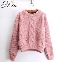 H SA Women Winter Pullover And Sweaters Oneck Twisted Women Sweater Pull Femme Sweter Mujer Short