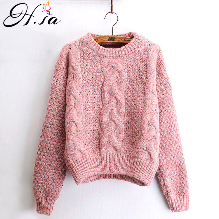 H.sa Women Winter Pullover And Sweaters Oneck Twisted Women Sweater Pull Femme Sweter Mujer Short Femninino 2017 Winter Sweater