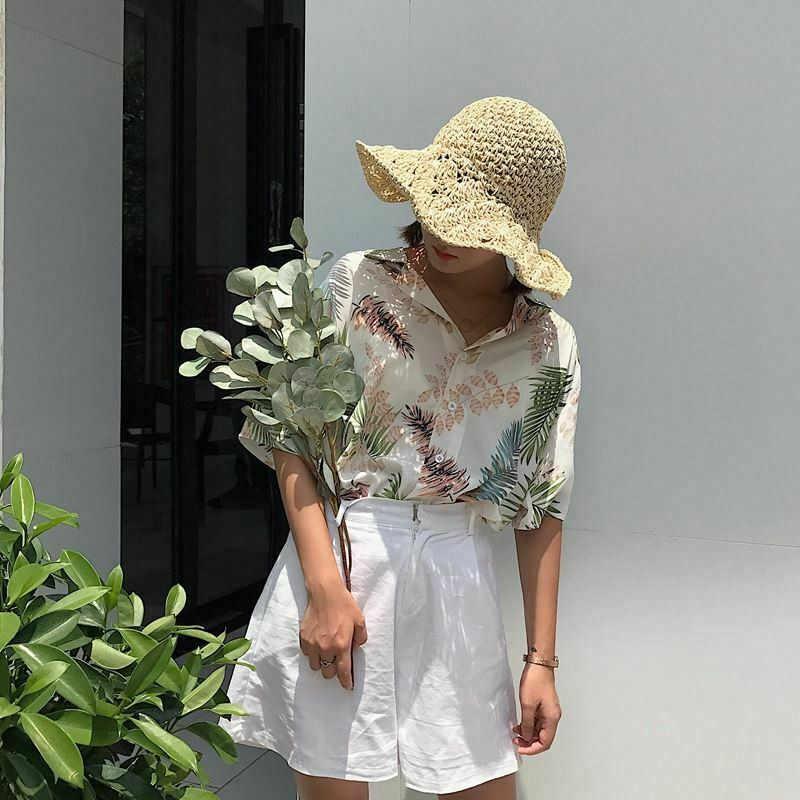 Летние Для женщин топы в гавайском стиле блузка женская пляжная листья печатных, рубашка на пуговицах с коротким рукавом пляжный рубашка большого размера модная блуза Женский Blusas