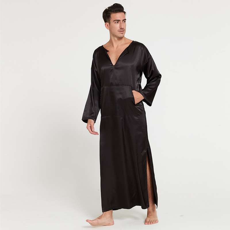 Men Summer Silklike Long Sleeve Pullover Homewear Bathrobes Male Sleepwear O-neck Long Robes