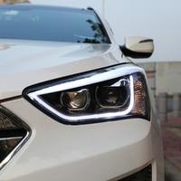KOWELL Car Styling for Hyundai IX45 13 15 LED Headlight New SantaFe Headlight DRL Lens Double Beam H7 HID Xenon bi xenon lens