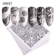 40 Sheets / Lot Nail Art Water Transfer Black Lace Flowers Design DIY Nail Stickers Manicure Tips Decoration Foil Set LAA625 672