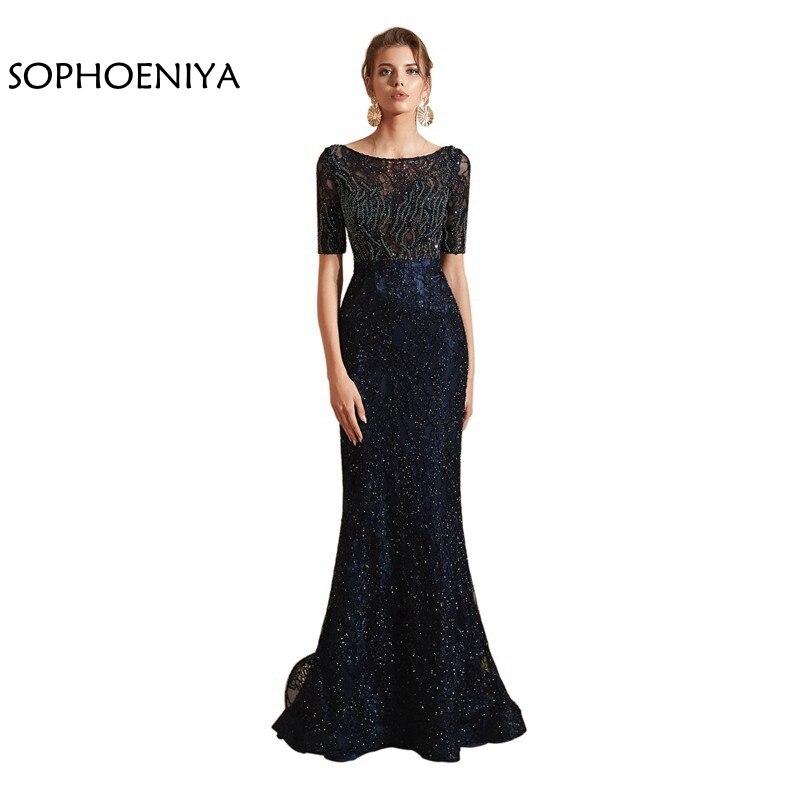 Nouveauté robes de soirée sirène robe de soirée en dentelle à paillettes robe de soirée avondjurk robe de soirée robe de soirée dubai