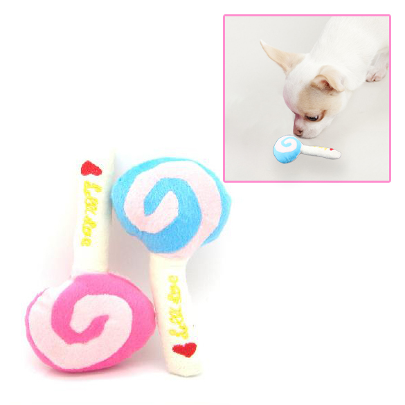 1 PC Pet Dog Puppy Animal Squeaky Squeaker Sound Toy Chews Cotton Wool Lollipop Color sent at random