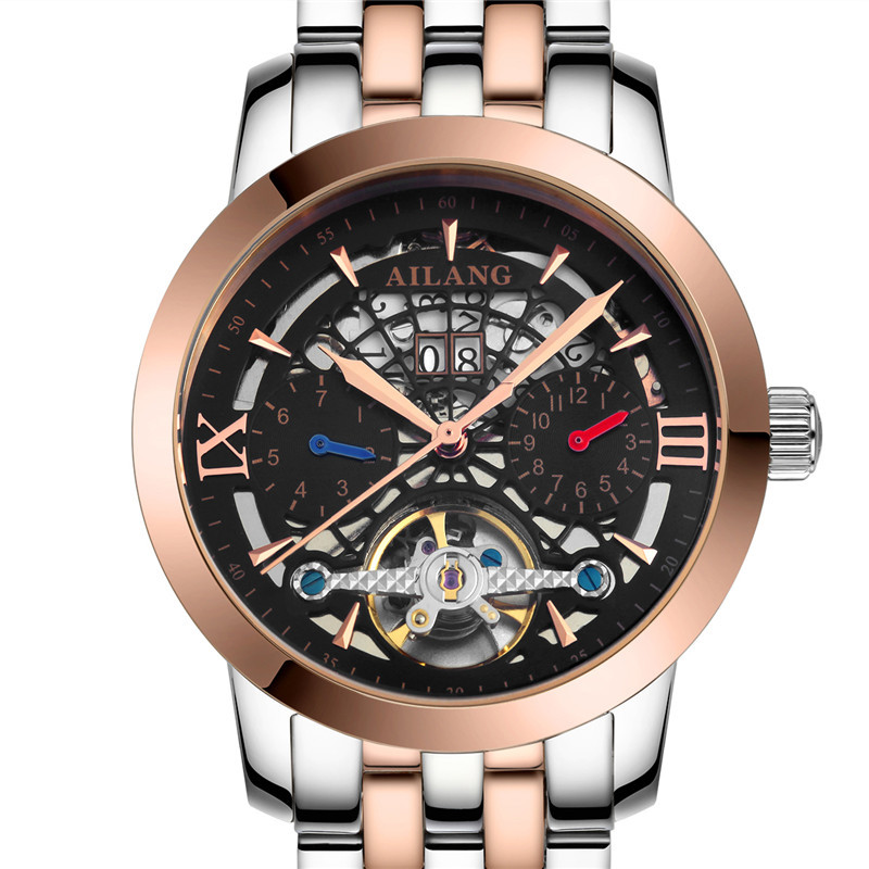 New Fashion 3D Visible Hollow Dial Men Tourbillon Watches Auto Self-wind Businessmen Dress Wrist watch Week Calendar Reloj W006New Fashion 3D Visible Hollow Dial Men Tourbillon Watches Auto Self-wind Businessmen Dress Wrist watch Week Calendar Reloj W006