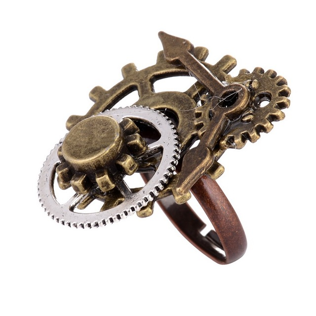 Creative Gear Wheels Shaped Resizable Metal Steampunk Ring