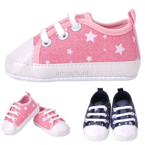 Newborn Baby Toddler Boys Girls Soft Sole Kids Shoes Canvas Prewalker Lace Up Sneaker 0-18M