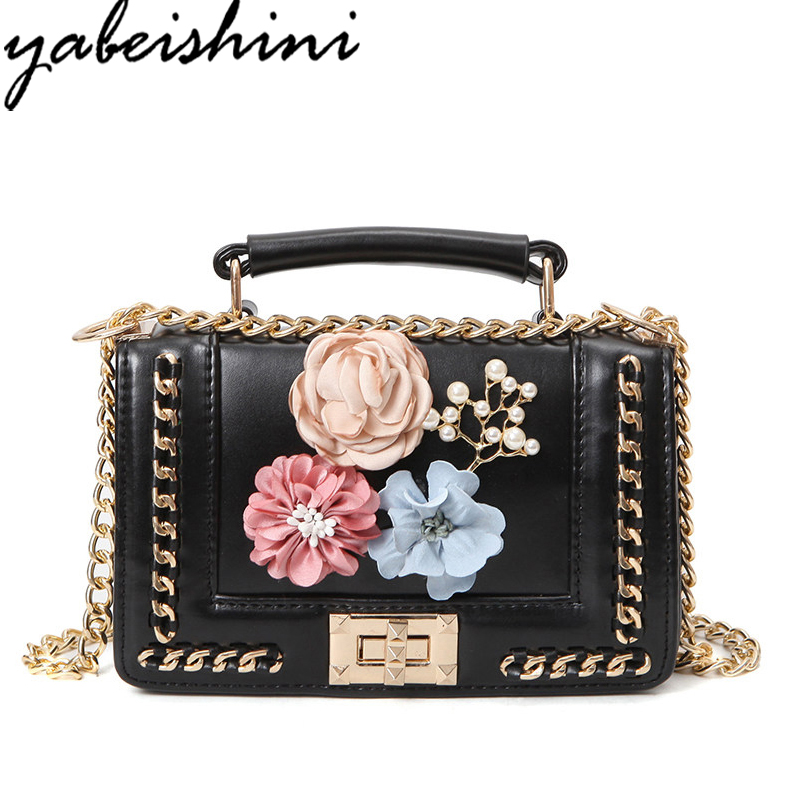 YABEISHINI Chain Flowers Women Bags luxury handbags women famous brand designer bag Crossbody Messenger bag sac a main bolsa trenadorab velour shoulder bag women bag luxury handbags designer brand ladies chain velvet crossbody messenger bags sac a main
