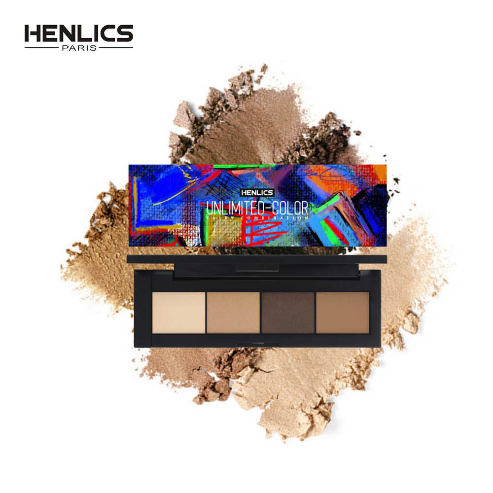 Henlics 4 Kleuren Make-Up Oogschaduw Palet Matte Shiny Pigment Oogschaduw Palet Schoonheid Professionele Smoky Eyes Make Up Cosmetica