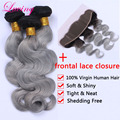 Top Grade 1B Gray Indian Virgin Human Hair Body Wave 3 Bundles With Lace Frontal Closure From Ear To Ear Bleached Knots