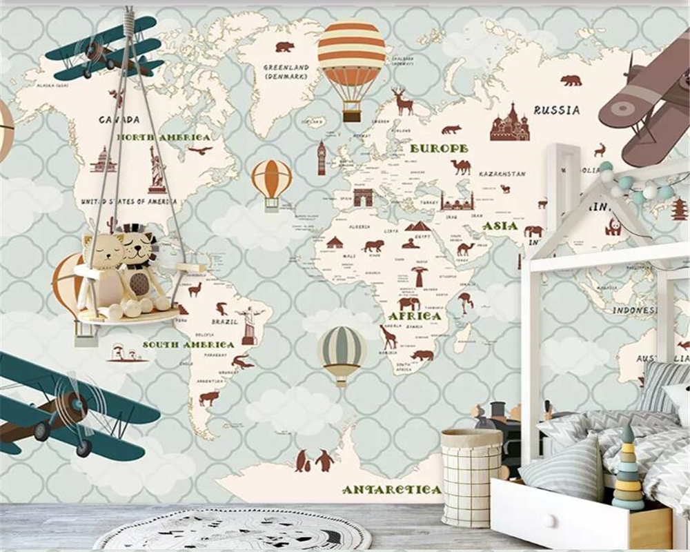 Beibehang Custom 8 Photo Mural Kids Room 3d Wallpaper Airplane Sailing Animals World Map Hot Air Balloon Background 3d Wallpaper