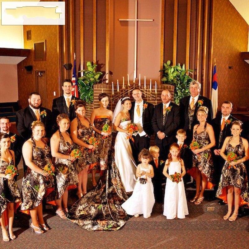 2016 Halter Camo   Bridesmaid     Dress   Hi-Lo Country Rustic Camo Wedding Camouflage   Bridesmaid     Dresses   Women Short Wedding Guest Gown