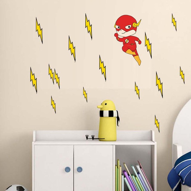 The Flash Superhero Wall Sticker America Captain Movie Vinyl Art Nursery Children Kid Room