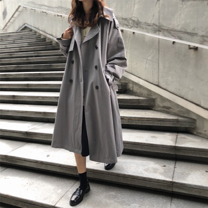 Spring Women's 2019 New Solid   Trench   Coats Long Sleeve Turn-down Collar Double Breasted Casual Loose Raincoat Outerwear x784