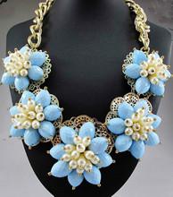 Lo nuevo magnífico de moda collar de la joyería azul departamento Orange declaración bib mujeres gargantilla collares y colgantes Q642 3 53(China (Mainland))