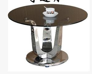 Little sitting room sofa round table of toughened glass, stainless steel round tea table