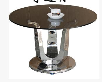 Little sitting room sofa round table of toughened glass, stainless - Furniture