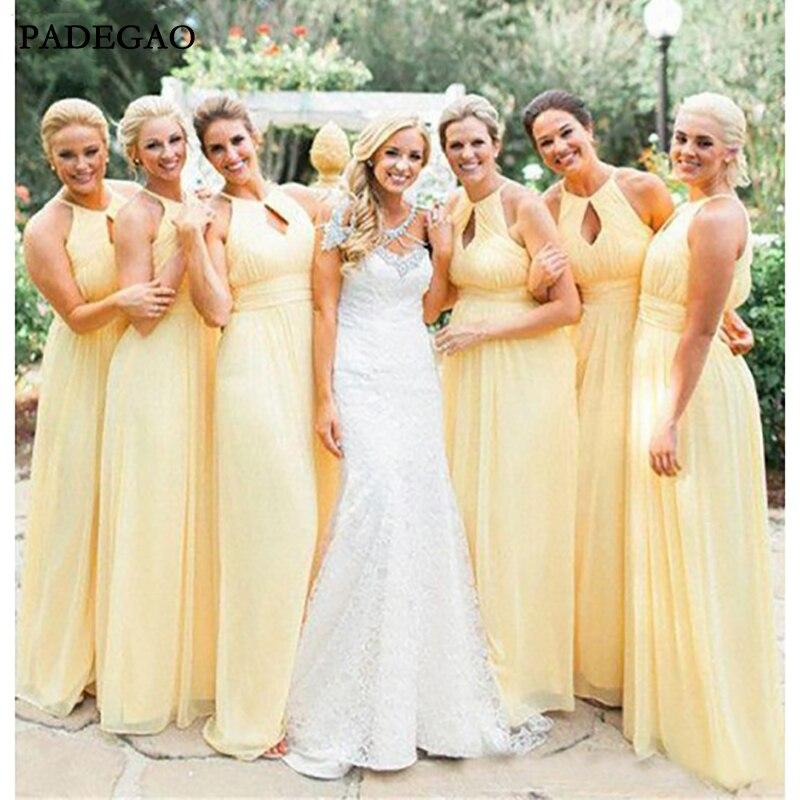 Simple Yellow Long   Bridesmaids     Dresses   Sleeveless Customized Chiffon Halter   Bridesmaids     Dresses   Prom Custom Made