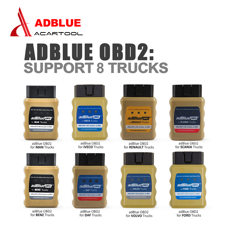 Newest AdBlue OBD2 For RENAULT/ IVECO/DAF/SCANIA/MAN/FORD/VOLVO/BENZ Trucks Adblue Nox Emulator Adblue OBD2 Scanner Free Ship renault immo emulator green