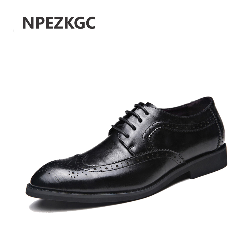 NPEZKG brand mens shoes high quality pointed toe dress shoes male gents formal wear zapatos hombre