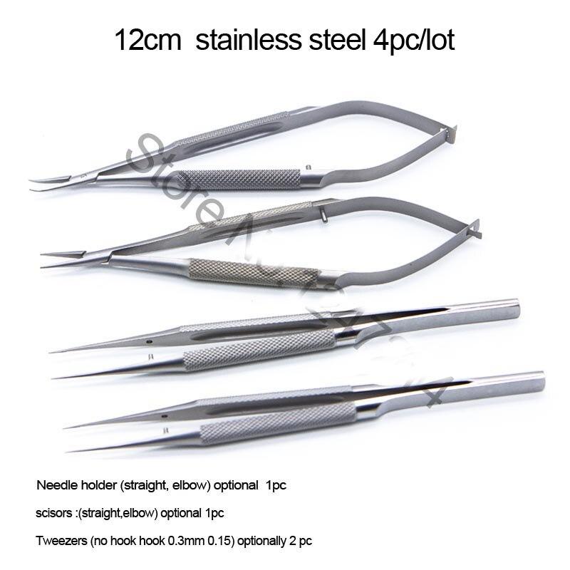 4 pz/set Oftalmica Microsurgical Strumenti 12.5 centimetri Forbici + Ago Titolari + Pinzette In acciaio inox Strumento Chirurgico
