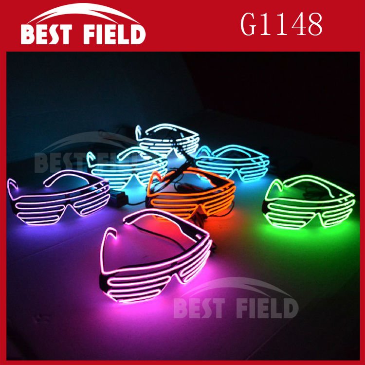 Free shipping 20pcs/lot Sound Music Voice Activate El Wire Fashion Neon LED Light Up Shutter Shaped Glasses Rave Costume Party ...