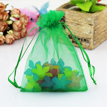 Whole 200pcs Lot Dark Green Organza Bag 7x9cm Wedding Favors Earrings Jewelry Packaging Pouches